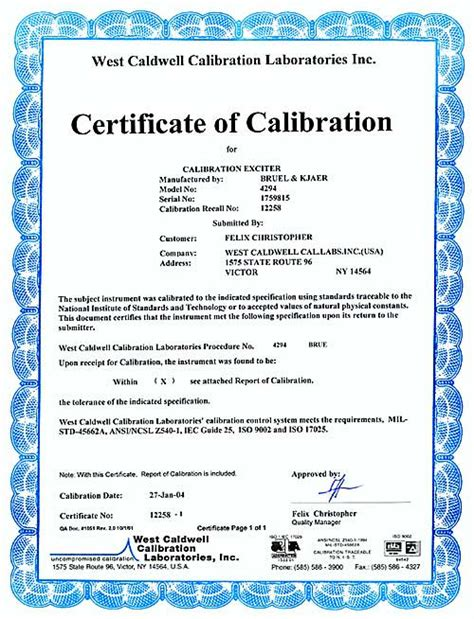 pressure test certificate template templates photo detailed about calibration templates