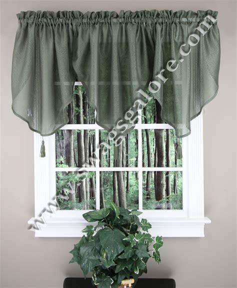 green swag curtains reverie snow voile ascot valance green lorraine kitchen