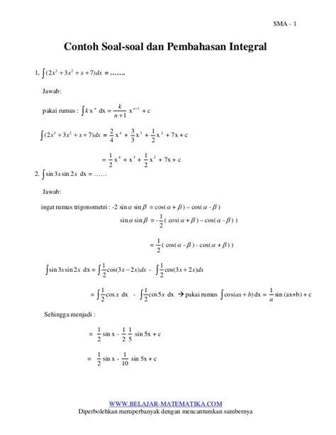 contoh contoh soal  pembahasan integral