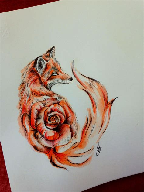 illustrative tattoo fox illustration www pixshark images