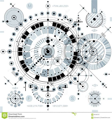 Futuristic Clock by Technical Drawing With Dashed Lines And Geometric Shapes