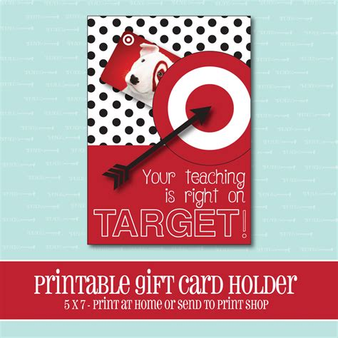 Printable Gift Cards Target - instant download target gift card holder amazing teacher