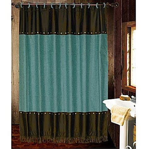 western shower curtain cheyenne faux tooled leather and fringe shower curtain