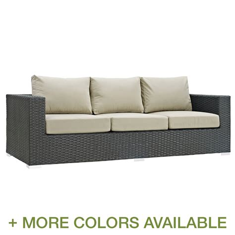 modway sojourn outdoor patio sofa with cushion free shipping