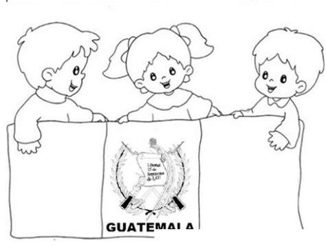 dibujos para pintar y colorear de guatemala ninos con bandera de guatemala para pintar y colorear
