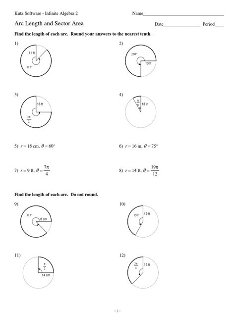 printable math worksheets arc length and area of a sector arc length worksheet lesupercoin printables worksheets