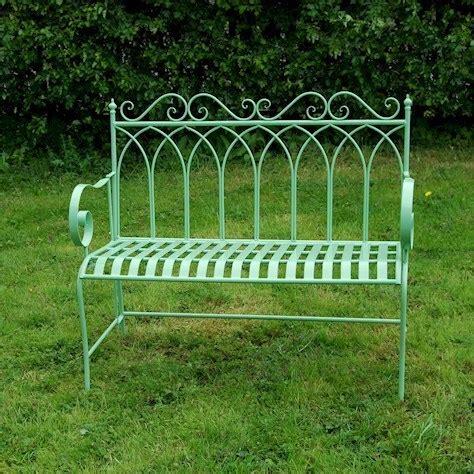 metal garden benches b q green metal garden bench metal garden furniture bistro