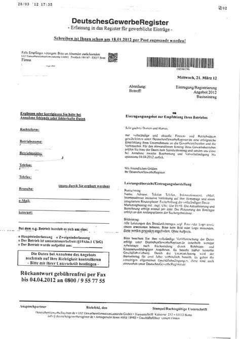 Anschreiben Giz Vorsicht Post Deutschesgewerberegister Rechtsanwalt Ferner Alsdorf Aachen