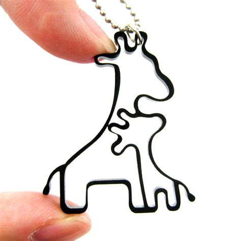 animal tattoo outline simple giraffe family animal charm outline necklace in