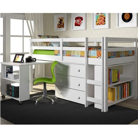 Loft Bunk Bed With Desk Underneath Low Loft Bed Solid Pine Bunk Bed With Desk Underneath Chest And Bookcase In White Finish