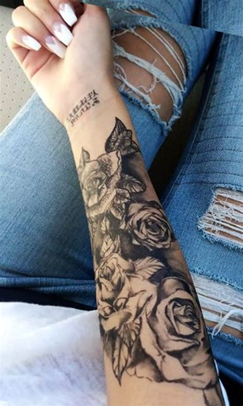 female rose sleeve tattoo black forearm ideas for realistic
