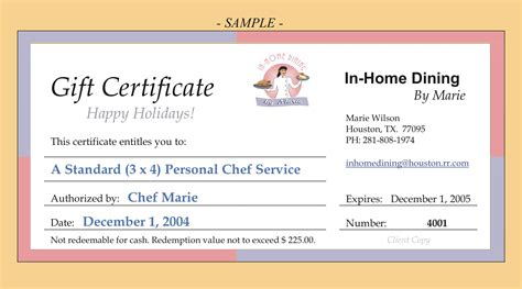 dinner gift certificate template in home dining by services