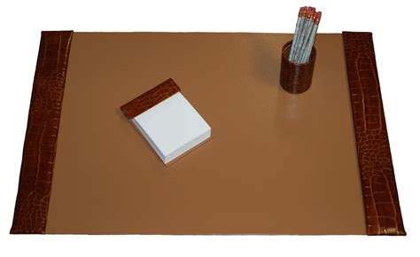 what is a desk set large 3 piece crocodile grain leather desk pad sets