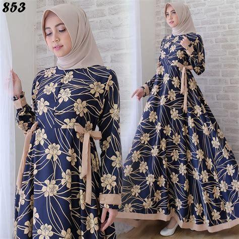 Gamis Denim Bunga gamis cantik maxmara bunga c853 baju muslim modern