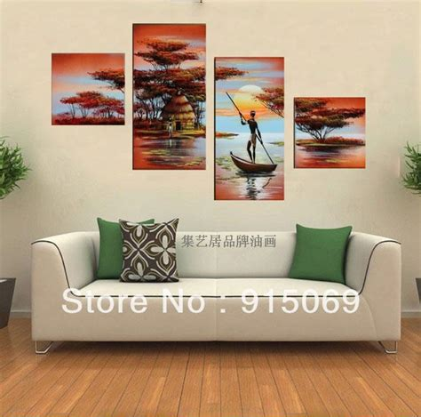 boat home decor lake boat sunset abstract wall art oil painting 100 hand