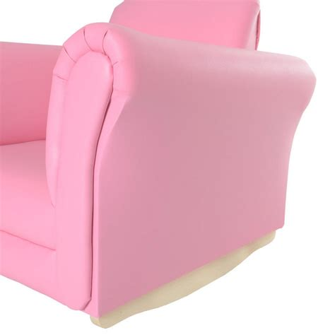 Pink Kids Armchair Azuma Kids Pu Leather Look Rocker Rocking Armchair Seat