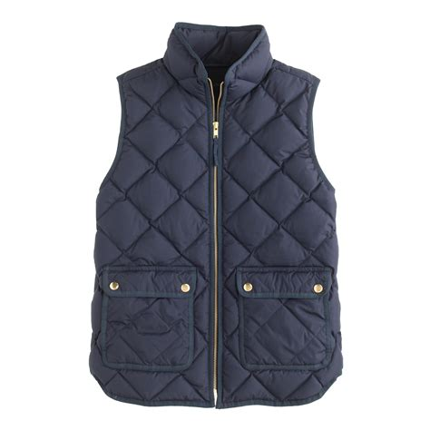 Navy Blue Quilted Vest j crew excursion quilted vest in blue navy lyst