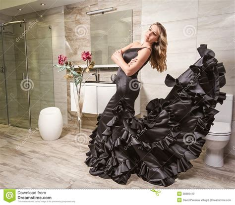 Bathroom Poses by With Flamenco Dress In A Bathroom Stock Photo