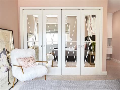 mirrored closet door pink ballerina room with ballet bars transitional basement