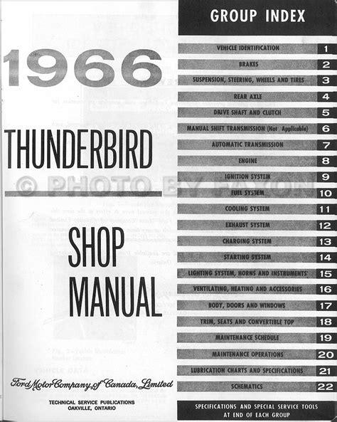 automotive repair manual 1965 ford thunderbird auto manual 1966 ford thunderbird repair shop manual original canadian