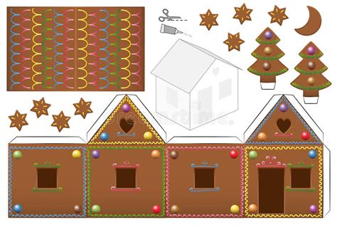 printable gingerbread house pieces gingerbread house candies paper model stock vector