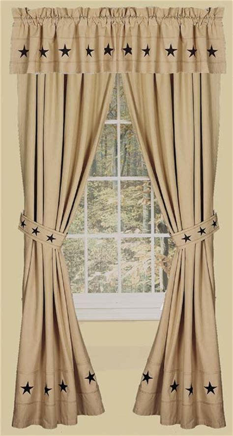 Danville Star 2 Curtain Window Panels Primitive Country Nutmeg/Creme Black lone