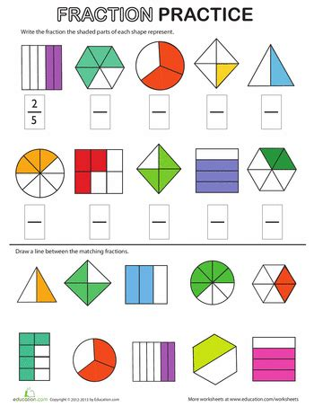 Fractions Worksheets 2nd Grade by Fraction Review Worksheet Worksheets Math And School
