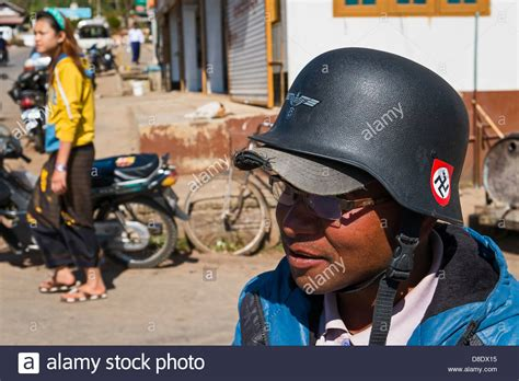 Motorradhelm Ww2 by Biker Wearing A Helmet Labeled With Nazi German