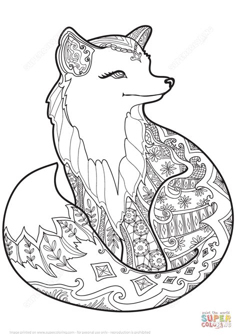fox coloring pages zentangle fox coloring page free printable coloring pages