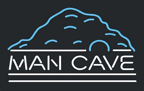 white neon light sign mountain white man cave neon sign other neon signs