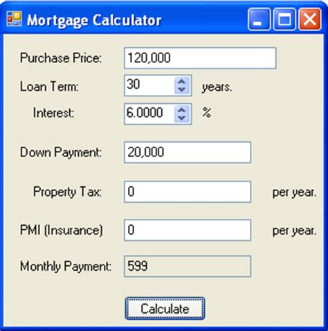 mortgage calculator in c and net net programming