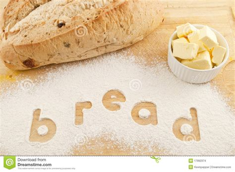 5 Letter Words Using Butter word bread written in flour bread and butter stock photo