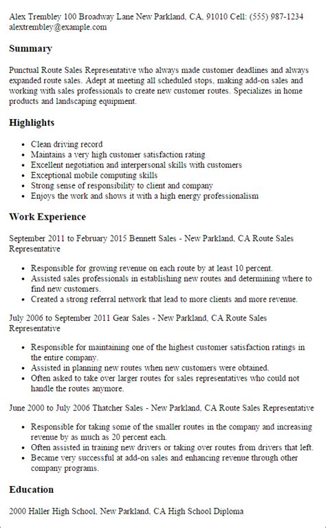 Sales Rep Resume Template by 1 Route Sales Representative Resume Templates Try Them