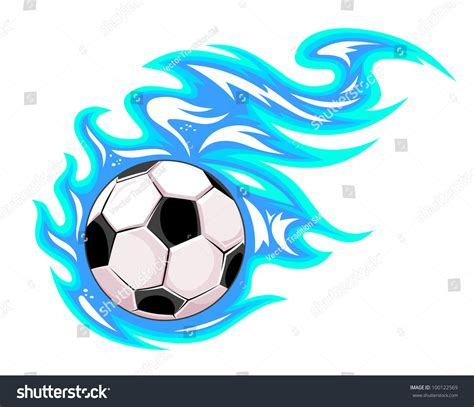 soccer ball blue flames jpeg version stock illustration