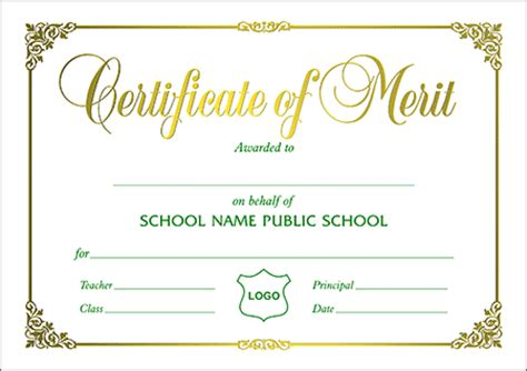 merit badge award card template certificates a5 size certificate of merit landscape a5