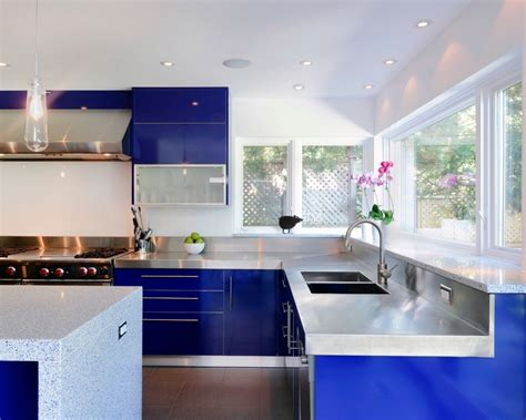 Blue Gloss Kitchen Cabinets by Look We 10 Kitchens With Blue Cabinets Kitchn