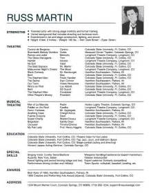 actor sle resume acting resume exle