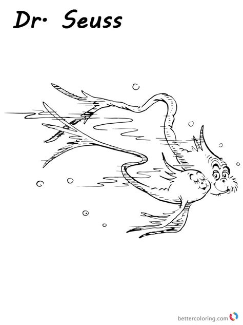 One Fish Two Red Blue Opposites Lesson Sketch Coloring Page