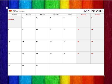 Kalender 2018 Zum Ausdrucken Und Bearbeiten Kostenlose Kalendervorlagen 2018 Office Lernen