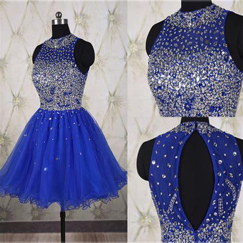 hot sales rhinestones royal blue short prom gown