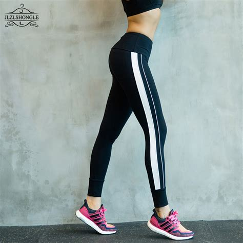 Legging Winter Stripe 3 7 black and white patchwork stripe legging plus size sporting fitness styles
