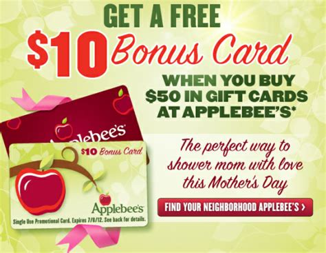 Ruby Tuesday E Gift Card - applebee s free 10 bonus card through june 24 restaurant deals and eating deals