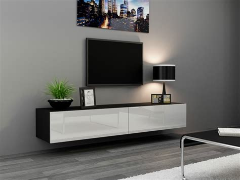 wall hanging tv stand black white high glos ebay
