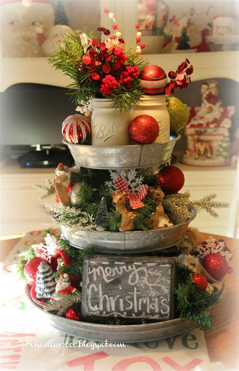 christmas centerpieces priscillas christmas galvanized tray centerpiece