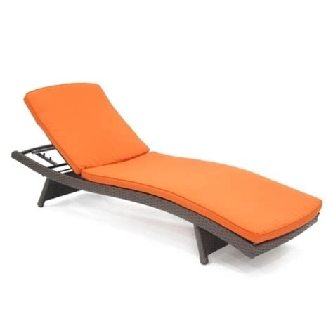 orange chaise jeco wicker adjustable chaise lounger in espresso with