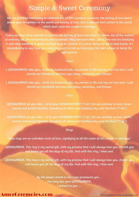 Wedding Vows Script by Simple Wedding Ceremony Script Http Amorceremonies