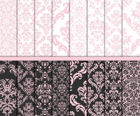 damask craft paper pink damask digital paper wedding paper wedding digital paper