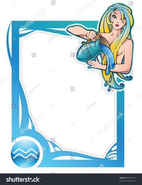 aquarius eleventh sign series zodiac frames stock