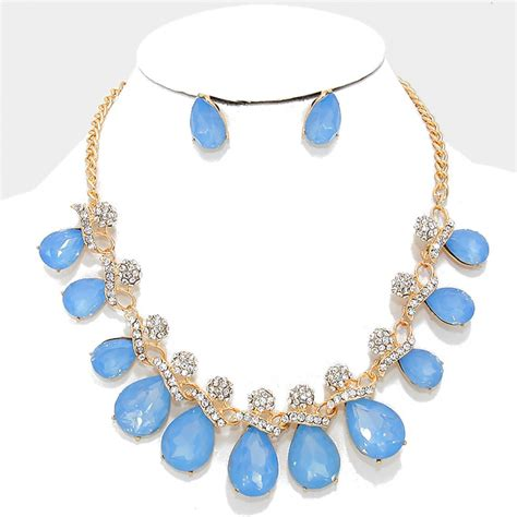 light blue statement necklace icy light blue crystal rhinestone teardrop statement