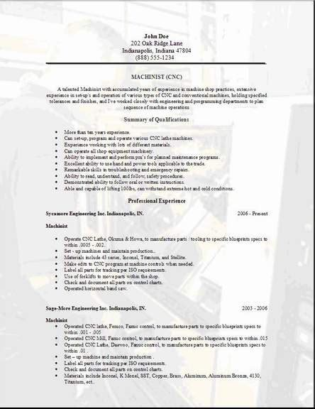 Machinist Resume by Exle Resume Exle Resume Machinist